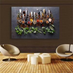 Spoon Grains Spices Peppers Kitchen Wall Art Home Decor Canvas Print Living Room