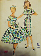 Vtg 50s Wiggle or Full Skirt Cocktail or Day Dress McCall's 4931 Bust 33 Sz 14s
