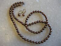 """HONORA 18"""" Chocolate Brown Pearl Necklace, Stretch Bracelet, Leverback Earrings"""