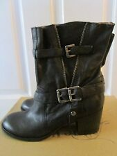 Nine West Odera Black Leather Mid Calf Western Style Fashion Boots Size 8.5 NEW