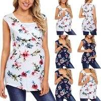 Women Pregnancy Maternity Summer Floral Vest Sleeveless Top Nursing Tee T Shirt