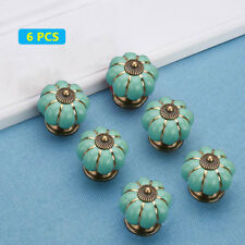 6 Pcs Vintage Pumpkin Turquoise Ceramic Cabinet Knobs Drawer Door Pull handle