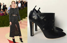 NIB CHANEL BLACK QUILTED LEATHER CC LOGOS CRYSTAL ANKLE BOOTS 39 8  @MET GALA