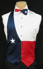 Boys Medium Red White & Blue Texas Star Satin Tuxedo Vest & Bow Tie Made in USA