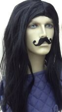 Men's Black Long Straight Fancy Dress Wig & Self Adhesive & Curl-Up Moustache