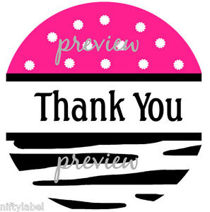 48/96/120 PINK POLKA DOTS & BLACK ZEBRA THANK YOU STICKER - SEAL LABELS - LASER