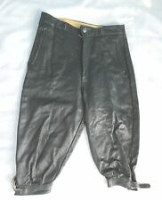 "Vtg German Ledenhosen Bundhosen Black Leather Knickers Pants 30"" Waist"
