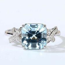 Antique Natural AAA Blue Aquamarine Diamond Bridal Women Ring 14K White Gold