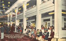 Linen Postcard Old Clubhouse at Derby Lane Greyhound Dog Track St. Petersburg FL