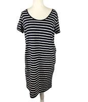 H&M T-Shirt Dress Size XL Blue & White Short Sleeve  Midi Length Spring Summer