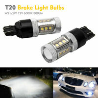 2× 7443 580 W21/5W White Samsung Bulb LED Sidelight Reverse Tail Stop Light DRL