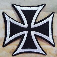 stemma toppa termoadesivo ricamata CROCE DI MALTA, Moto, Biker - bianco e nero