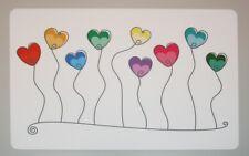 Schreibtischunterlage bunte Herzen/Ballons an Schnur weiß abwischbar 40 x 60 cm