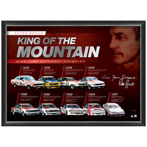 Peter Brock Signed Official Print Framed Bathurst Champion KING OF THE MOUNTAIN