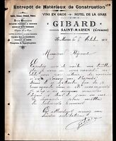 "SAINT-MARIEN (23) MATERIAUX de CONSTRUCTION & HOTEL de la GARE ""GIBARD"" en 1912"