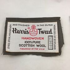 Harris Tweed Vintage 1975 2 Labels (ONLY) 8 Woven Leather Buttons - 2 Lg - 6 Sm