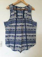 Fat Face Retro Abstract Print Relaxed Fit Vest Top Size 14