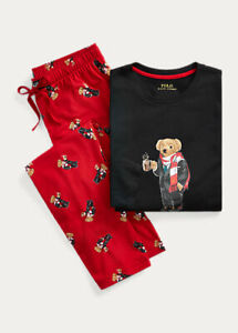 Polo Ralph Lauren Cotton Jersey Pajama Set Cocoa Polo Bear NWT$75 Sz S men's