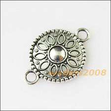 8Pcs Antiqued Silver Tone Flower Round Charms Pendants Connectors 15.5x23mm