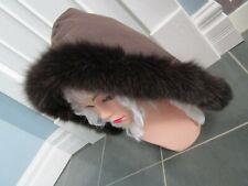 Real Genuine FOX FUR Trim Hood Collar Boa Brown