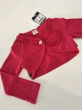 NWT New 104 3-4  Jottum KEETJE Adorable Hot Pink Ruffle CARDIGAN SWEATER Bolero