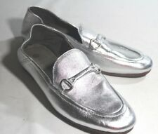 H by HUDSON LONDON Anthropologie 6.5 37 Flats Silver Metallic LEATHER Loafers