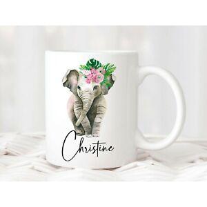 Personalised Elephant Mug - Custom Birthday Gift Christmas Present for Her