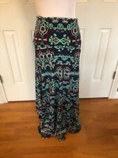 LuLaRoe Long Maxi Skirt Sz S Simply Comfy Paisley With Teal Background