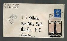 1937 England SS Circassia  Maiden Voyage Ship Cover to Canada
