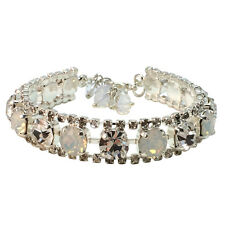 Bridal Rhinestone Clear Chaton  Cuff Bracelet with Crystals from Swarovski