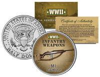 M1 CARBINE * WWII Infantry Weapons * JFK Kennedy Half Dollar U.S. Coin