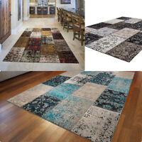 Antique Vintage Style Handmade Patchwork Rug Blue Red Silver Multi in 4 Sizes