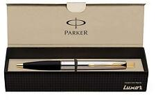 Parker Frontier Stainless Steel SS GT Ball Point Pen Gold Trim - Quink Blue Ink