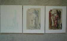 SALVADOR DALI - Purgatory 11 - Divine Comedy - 3 Woodblock Prints / Woodcuts