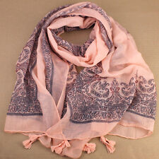 Sheer Soft Delicate Apricot Scarf Paisley Tassels 180x70cm Boho Wrap Mini-Sarong