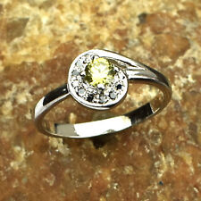 925 Sterling Silver Natural Citrine & Pave Yellow Diamond Gemstone Ring