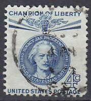 USA Briefmarke gestempelt 4c Champion of Liberty Paderewski Rundstempel / 1798