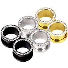 Pair Rim Gem Stainless Steel Screw Fit Ear Plug Gauges Tunnel Eyelet Piercing