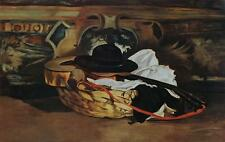 EDUARD MANET Guitar and Sombrero LITHOGRAPH Vintage c.1950's Still life #336