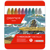 Caran d'Ache Neocolor I Metallic Tin of 10 Water Resistant Artist Colour Pastels