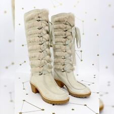 Marc Jacobs Boots Size 40 US 10 Cream Suede Fur Lace Up Knee High Lug Sole Heel