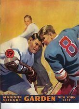 1945-46 New York Rangers-Maple Leafs Program Rangers Edge Leafs GEM!!