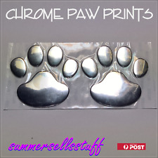 3D chrome dog bear PAW PRINT decal sticker.Car,caravan,campervan,kids room wall!