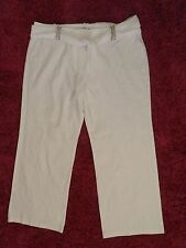 M&S Autograph White Linen Mix Trousers Plus Size 20 BNWOT Beads Chiffon Tie Belt