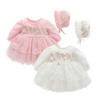 New Baby Girls O-neck Flower Long Sleeve Lace Party Princess Mini Dress Cap Set
