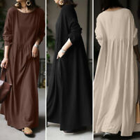 Women Long Sleeve O Neck Solid Cotton Casual Loose Tunic Kaftan Baggy Maxi Dress