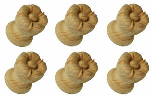 Set of Six Large Beautifully Carved Pine Wooden Cupboard or Door Knobs  - PNX686