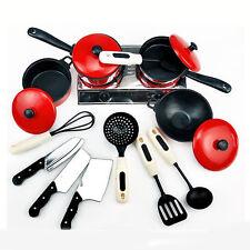 13 Set Mini Kitchen Cookware Pot Pan Kids Cook Pretend Play Toy
