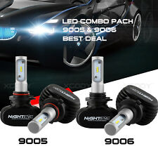 Nighteye 9006 + 9005 4PCS LED Total 100W 16000LM Combo Headlight Kit 6500K White