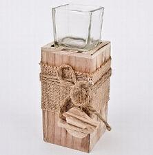 Steele Holz mit Teelichtglas und Vögel 18,5 cm Deko neu Kerzenhalter
